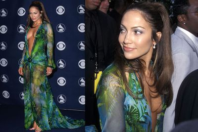 JLo stunned in this stunning Versace number at the 42nd Annual Grammy Awards in February 2000..