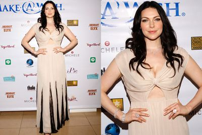 Boobs out for the boys! Laura Prepon's neutral number was not so beige after all.