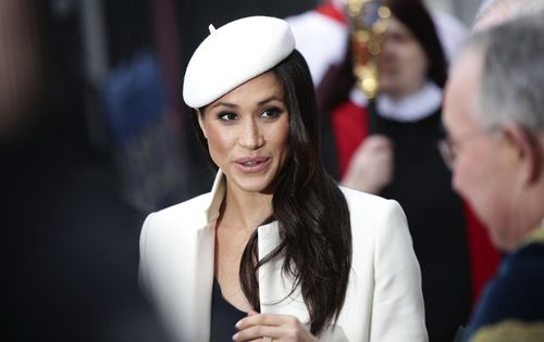 Meghan wore a beret by Stephen Jones. Picture: PA/AAP
