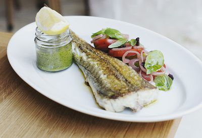 """Recipe: <a href=""""http://kitchen.nine.com.au/2016/05/20/10/30/the-fish-shops-whole-flathead-with-mint-and-parsley-sauce"""" target=""""_top"""">The Fish Shop's whole flathead with mint and parsley sauce</a>"""