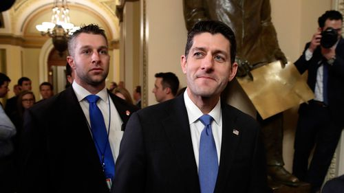 House Speaker Paul Ryan leaves the House Chamber after Republican tax bill vote. (AP)