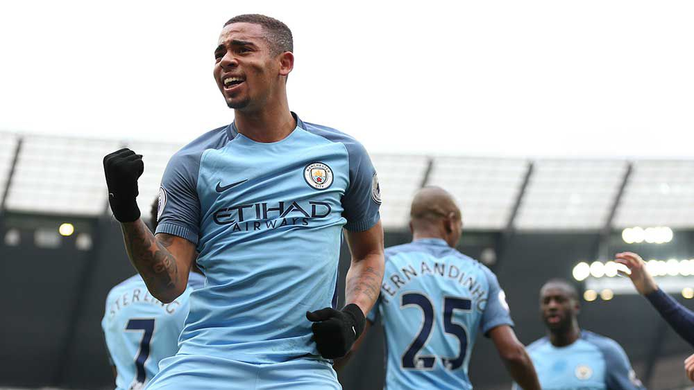 Gabriel Jesus scored a brace against Swansea City. (AAP)