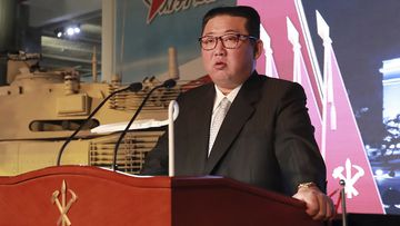 North Korean leader Kim Jong Un speaks during an exhibition of weapons systems in Pyongyang, North Korea, Monday, Oct. 11, 2021.
