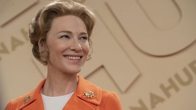 "This image released by FX shows Cate Blanchett as Phyllis Schlafly in a scene from the miniseries ""Mrs. America,"" an FX original series premiering April 15 on Hulu. (Sabrina Lantos/FX via AP)"