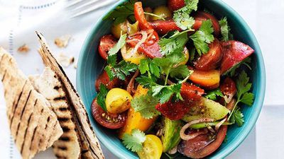 "Click through for our <a href=""http://kitchen.nine.com.au/2016/05/16/19/28/mixed-tomato-salad-with-sumac-herbs-and-flatbread"" target=""_top"">mixed tomato salad with sumac, herbs and flatbread</a> recipe"