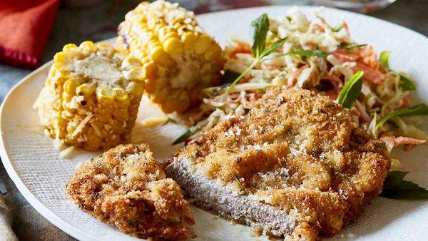 Schnitzel with corn