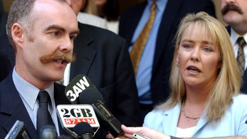 The wife of Rodney Miller, Carmel, alongside the murdered policeman's brother in 2006.