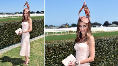 <p>Bec Judd wore pastel pink Dion Lee, Studio Aniss and Ferragamo.</p> <p>(AAP)</p>
