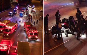 Two fighting for life after car ploughs into protest crowd on Seattle highway