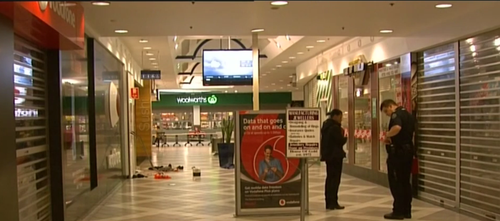 There has been a heavy police presence at Parabanks Shopping Centre following the attack as authorities hunt for the person responsible. Picture: 9NEWS