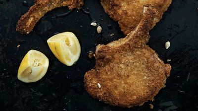 """<a href=""""http://kitchen.nine.com.au/2016/11/08/10/38/neil-perrys-crumbed-pork-with-lemon"""" target=""""_top"""">Neil Perry's crumbed pork with lemon<br> <br> </a>"""