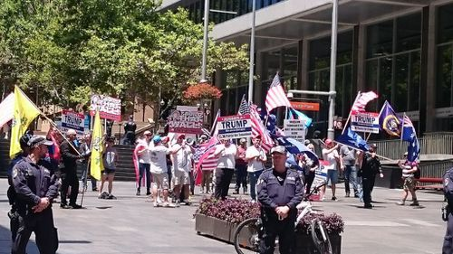 A small number of Mr Trump's supporters gathered at Martin Place. (Twitter)
