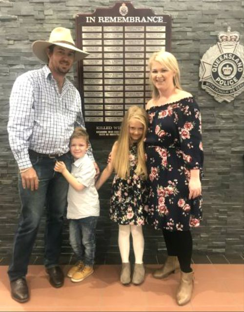 The young hero with her parents and brother. Picture: Queensland Police Service