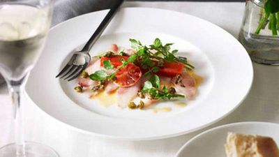 "Recipe: <a href=""http://kitchen.nine.com.au/2016/05/16/18/32/guy-grossi-kingfish-carpaccio-with-blood-orange-capers-watercress-and-piquillo"" target=""_top"">Guy Grossi's kingfish carpaccio with blood orange, capers, watercress and piquillo</a>"