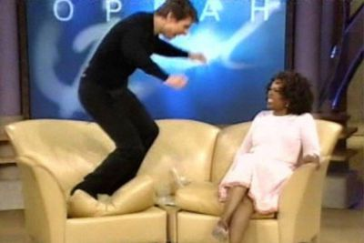 """Tom Cruise appeared on <i>The Oprah Winfrey Show</i> and, in a bid to prove his love for Katie Holmes, jumped around the set like a lunatic. One particular moment, him hopping on the couch, inspired the idiom """"jumping the couch"""" &mdash; used to describe someone """"going off the deep end"""" during a public appearance. It went on to be chosen by the editors of the Historical Dictionary of American Slang as the Slang Term of the Year in 2005."""