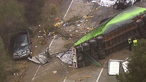 The northbound B-double truck allegedly veered on to the wrong side of the Hume Highway near Berrima about 4am yesterday.