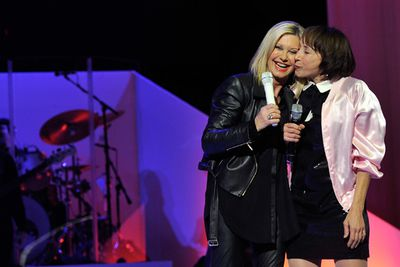 Didi, 63, visited Olivia, 66, at her Flamingo Hotel and Casino residency and they sang 'Summer Nights' together wearing outfits recalling their iconic characters.