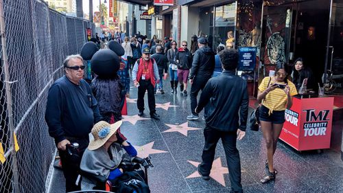 The normally bustling thoroughfare of Hollywood Boulevard seems subdued of late. (9NEWS/Ehsan Knopf)