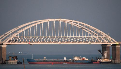 The new bridge across the Kerch Strait linking Russia's Taman Peninsula with Crimea,.