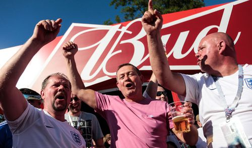 England football supporters enjoy Russian beer at the World Cup but back home there is a shortage. (Getty).