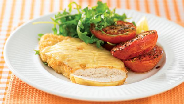 Swiss schnitzel with roast tomatoes