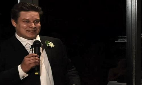 The wedding video has been released in the hopes someone may recognise his voice or mannerisms.