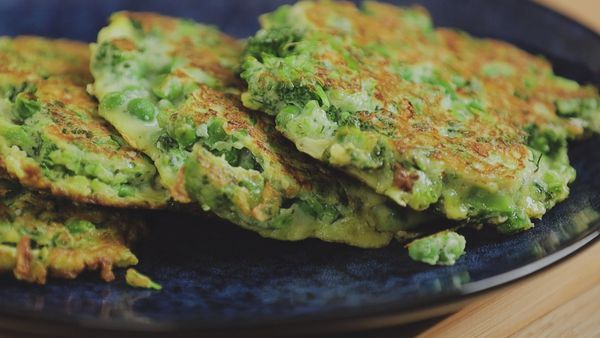 Perfect broccolini, pea and soft herb fritters