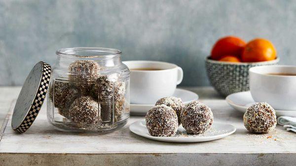 Chocolate mandarin bliss balls