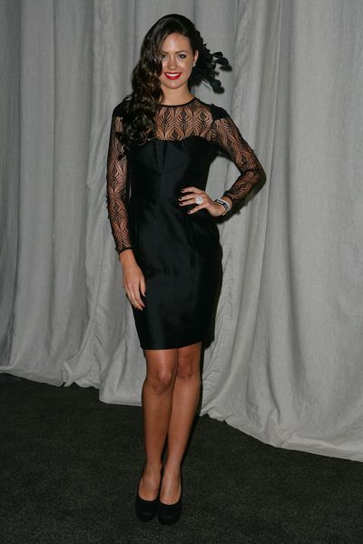 Jesinta Campbell  in the Myer marquee on AAMI Golden Slipper Day in Sydney, April, 2011