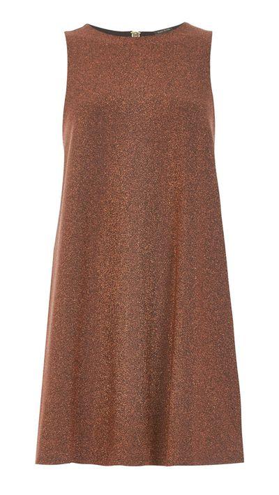 "<p><a href=""http://au.riverisland.com/women/dresses/swing-dresses/rust-brown-sparkly-swing-dress-672855"" target=""_blank"">Dress, $84, River Island</a></p>"