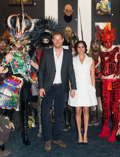 Prince Harry, Duke of Sussex and Meghan, Duchess of Sussex visit Courtnay Creative for an event celebrating the city's thriving arts scene on October 29, 2018 in Wellington, New Zealand.