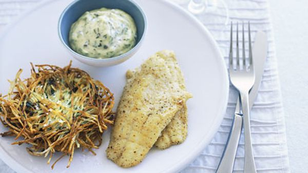 Pan-fried matzo-dusted whiting with potato latkes and crème fraîche tartare sauce