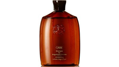 """<a href=""""http://www.oribe.com/"""" target=""""_blank"""">Shampoo for Magnificent Volume, 250ml, $53, Oribe</a>"""