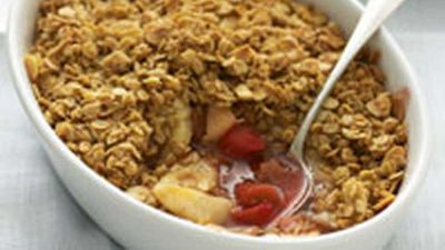 """Recipe:<a href=""""http://kitchen.nine.com.au/2016/05/17/11/30/pear-and-rhubarb-crumble-with-almond-and-oat-topping"""" target=""""_top"""">Pear and rhubarb crumble with almond and oat topping</a>"""