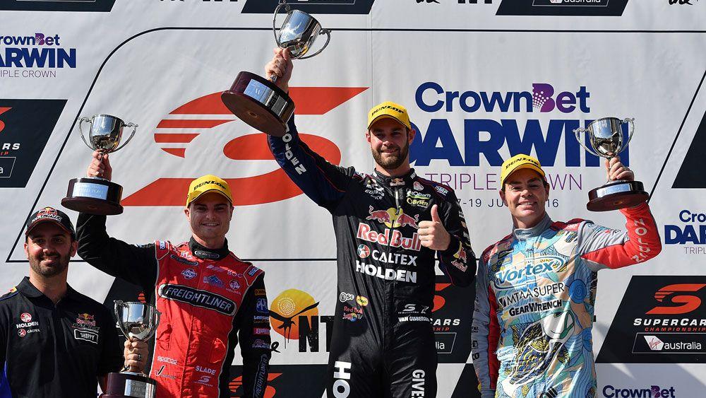 Shane van Gisbergen on top of the podium. (Getty)