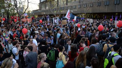 Students gathered outside University of Technology.