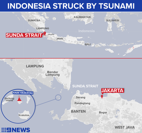 The area affected by the most recent tsunami.