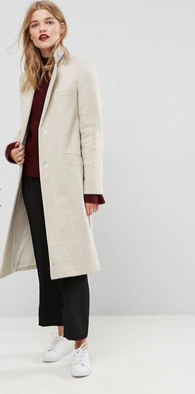"<a href=""http://www.asos.com/au/asos/asos-slim-coat-in-wool-blend/prd/7780677?clr=oatmeal&SearchQuery=&cid=2641&gridcolumn=1&gridrow=1&gridsize=4&pge=1&pgesize=72&totalstyles=24"" target=""_blank"">ASOS Slim Coat in Wool Blend in Oatmeal, $149</a>"