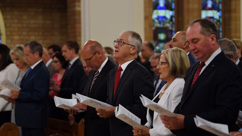Malcolm Turnbull attends an ecumenical church service to mark the start of the parliamentary year at St Christopher's cathedral in Canberra. (AAP)