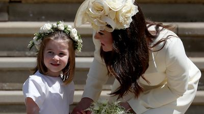 Princess Charlotte with the Duchess of Cambridge at Harry and Meghan's wedding, 2018