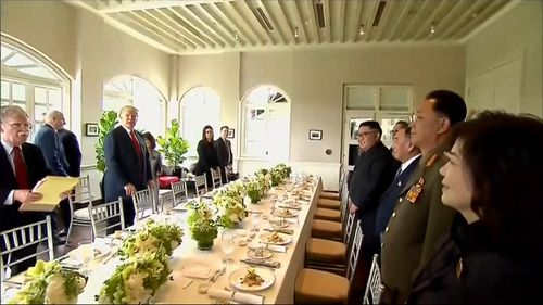 The leaders sit down for lunch during yesterday's summit