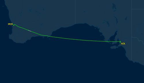 It took off again at 1am and continued to Perth. Picture: FlightAware24