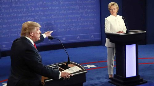 Donald Trump and Hillary Clinton during a presidential debate. (AAP)