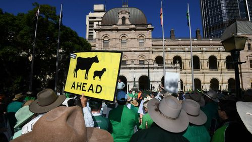 Farmers and their supporters protest outside Parliament House in Brisbane. (AAP)