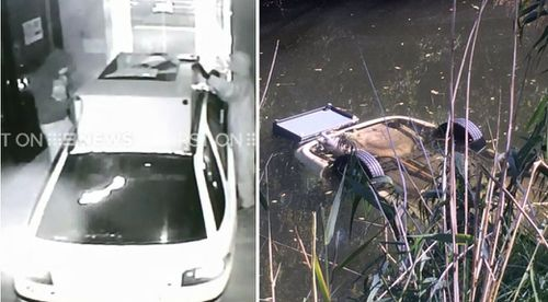 Police believe they have found the ram-raid vehicle in Adelaide's River Torrens. (9NEWS)