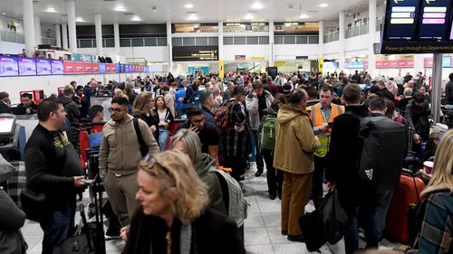 Long queues at Gatwick Airport as hundreds of thousands of flights are disrupted by drones.