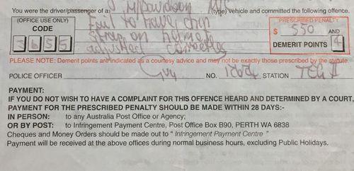 The man was fined $550 and four demerit points.