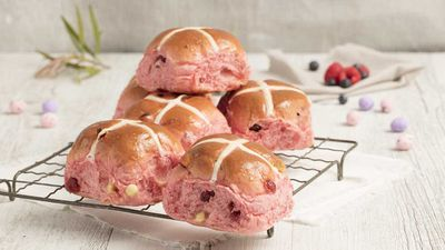 "<p><a href=""https://www.brumbys.com.au/"" target=""_top"" draggable=""false""><strong>Brumby's Bakery</strong></a> has got a wild range of hot cross buns on offer from choc caramel to Jaffa orange choc,&nbsp;date and vanilla or the very pretty berry and white choc. But it's their partnership with The Smith Family foundation that's an Easter bonus.&nbsp;</p> <p>RRP - ½ dozen $8.50&nbsp;</p>"