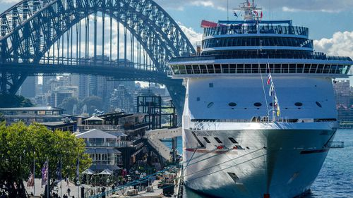 The Carnival Spirit, pictured moored at Sydney's Overseas Passenger Terminal. (Supplied: Hpeterswald)