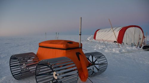 The FrostyBoy robot was used to search crevasses in the snow during the harsh Greenland winter.